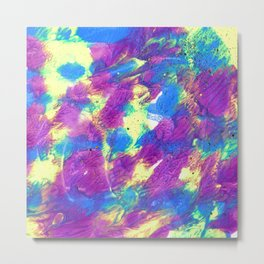 Abstract Fluid Painting with Glitter in Blue, Purple and Neon Yellow Metal Print