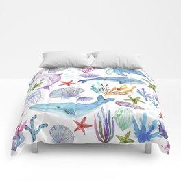 under the sea watercolor Comforters