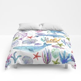 under the sea watercolor Comforters