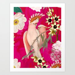Vintage & Shabby Chic - Tropical Bird Flower Garden Art Print