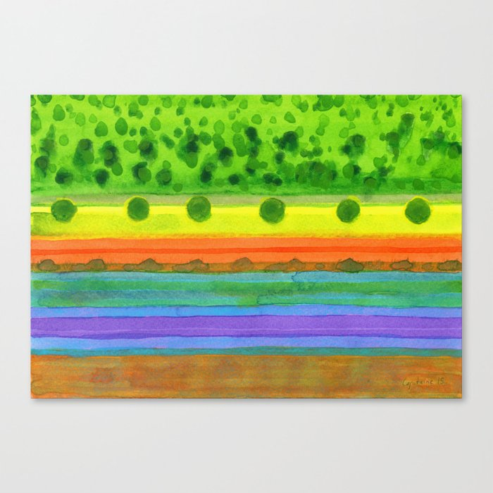 Plain with red Field Canvas Print
