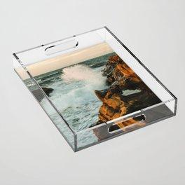 waves come crashing Acrylic Tray