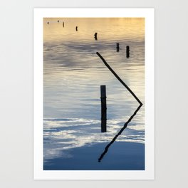 Pieces of wood reflection Art Print