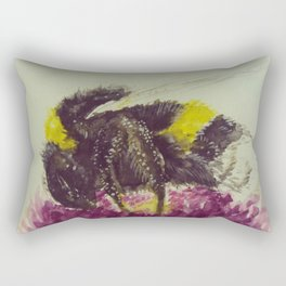 Watercolor Bumble Bee on a Flower Rectangular Pillow
