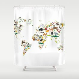 Cartoon animal world map for children and kids, Animals from all over the world on white background Shower Curtain