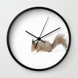 Little squirrel sitting in the snow #decor #society6 #buyart Wall Clock
