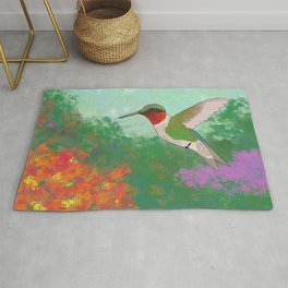 Ruby Throated Hummingbird Rug
