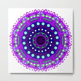 purple blue green night star mandala Metal Print
