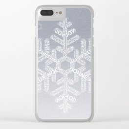 Typographic Snowflake Greetings - Silver Grey Clear iPhone Case