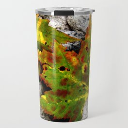 Leaves in Gray Travel Mug