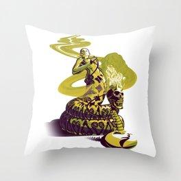 SnakeWoman and Demon-Skull Bong Throw Pillow