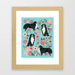 Bernese Mountain Dog pet portrait dog art illustration fur baby dog breed floral gift for dog lover Framed Art Print