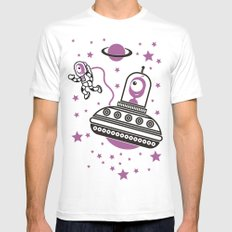 space Purple! MEDIUM Mens Fitted Tee White
