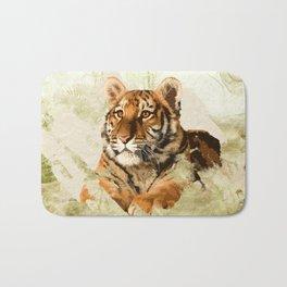 Tiger Cub - Mixed Media Digital art Bath Mat