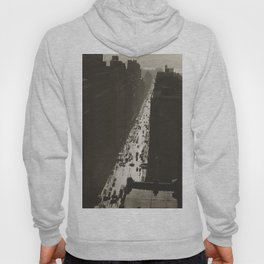 Seventh Avenue, NYC Looking South from 35th Street, Manhattan black and white skyline photograph Hoody