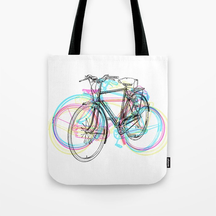 Artistic modern pink teal abstract bicycles art Tote Bag