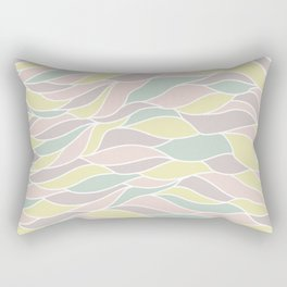 Pastel yellow green coral pink abstract geometric waves Rectangular Pillow