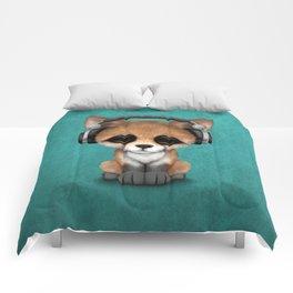 Cute Red Fox Cub Dj Wearing Headphones on Blue Comforters