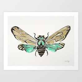 Summer Cicada – Mint & Tan Palette Art Print
