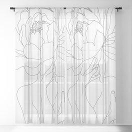 Minimal Line Art Woman Flower Head Sheer Curtain