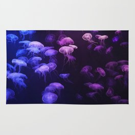 Blue and pink jellyfish Rug
