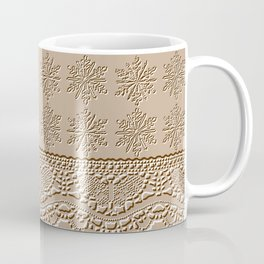 Lace and Stars in Coffee Color Chenille Pattern Coffee Mug