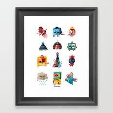 Monster Shapes Framed Art Print