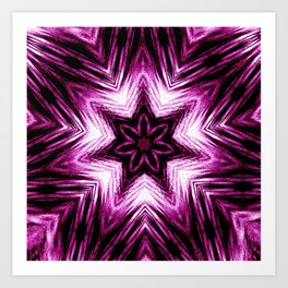 Bright Dark Violet Wine Red Abstract Blossom #purple #kaleidoscope Art Print