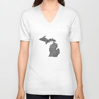 michigan V-neck T-shirts featuring Typographic Michigan by CAPow!