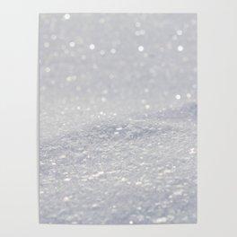 Silver Gray Glitter Sparkle Poster