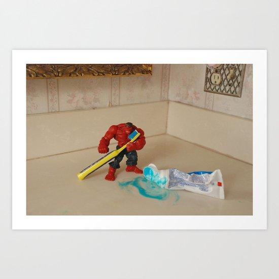 Red Hulk Brush Teeth Art Print
