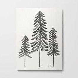 Pine Trees – Black Ink Metal Print