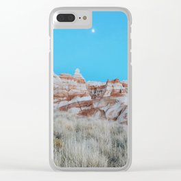 Moon Over Marbled Rock Formation Clear iPhone Case