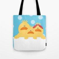ducks Tote Bags featuring Ducks by SANTA