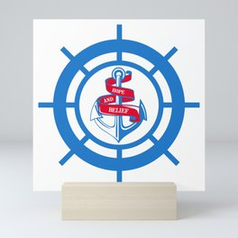 Anchor and steering wheel Mini Art Print