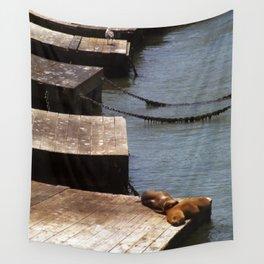 Sunbathing Seals Wall Tapestry