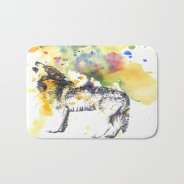 Howling Wolf in Splash of Color Bath Mat