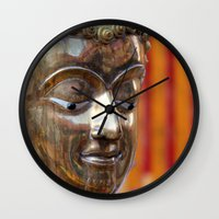 thailand Wall Clocks featuring Thailand Buddha  by Maria Faith Garcia