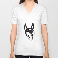 doberman V-neck T-shirts featuring Doberman by anabelledubois