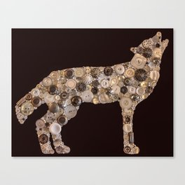 Grey Wolf button art PRINT Canvas Print