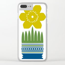 Nordic Yellow Flower Clear iPhone Case