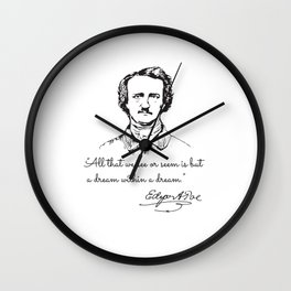 Unique Portrait Reveals Young Edgar Allan Poe Wall Clock