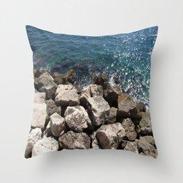 Monaco Sea Rocks Throw Pillow