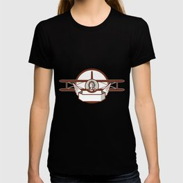 World War 1 Pilot Airman Spad Biplane Circle Retro T-shirt
