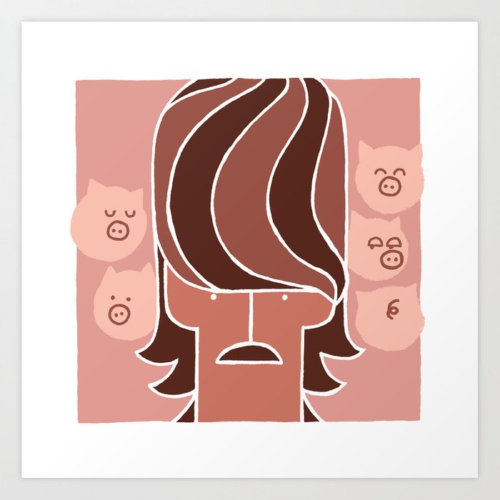 George & Piggies Art Print