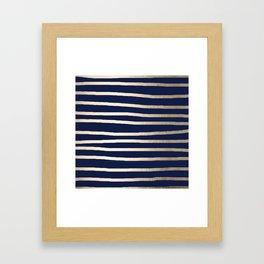 Drawn Stripes White Gold Sands on Nautical Navy Blue Framed Art Print