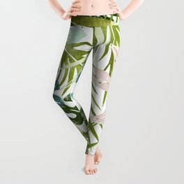 Veronica, Tropical Jungle Nature Pastel Botanical Palm Illustration Monstera Painting Leggings