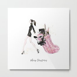 Pink Christmas - Brown Hair Option Metal Print
