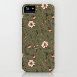 Vintage Kaki Floral Pattern iPhone Case
