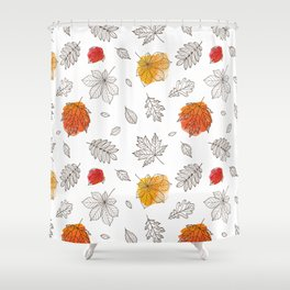 Hand sketch black orange red fall leaves Shower Curtain